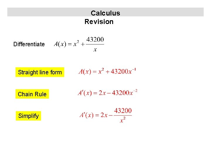 Calculus Revision Differentiate Straight line form Chain Rule Simplify