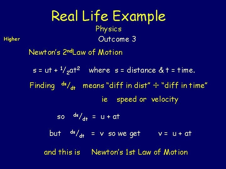 Real Life Example Physics Outcome 3 Higher Newton's 2 nd. Law of Motion s