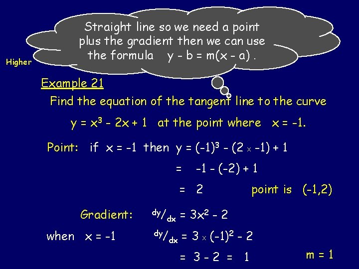 Straight line so need a point Equation ofwe. Tangents Higher plus the gradient then