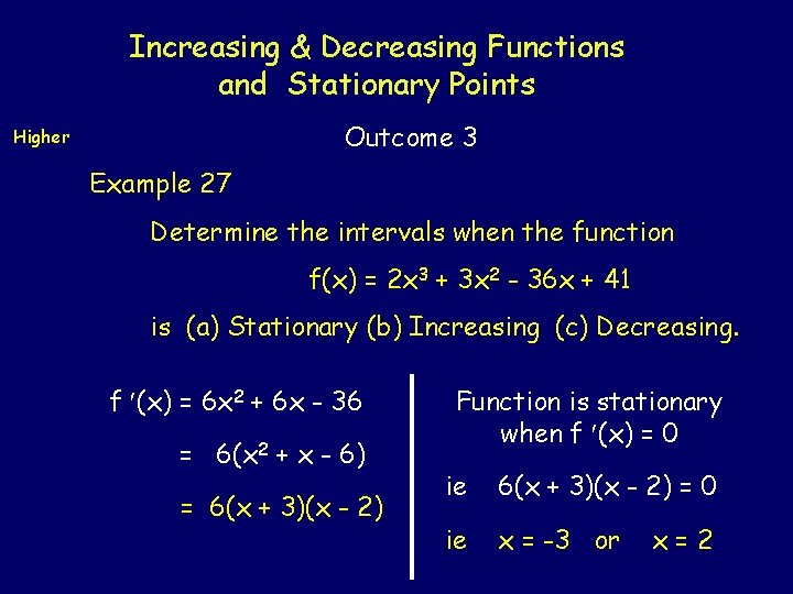 Increasing & Decreasing Functions and Stationary Points Outcome 3 Higher Example 27 Determine the