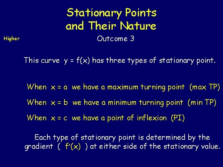 Stationary Points and Their Nature Higher Outcome 3 This curve y = f(x) has