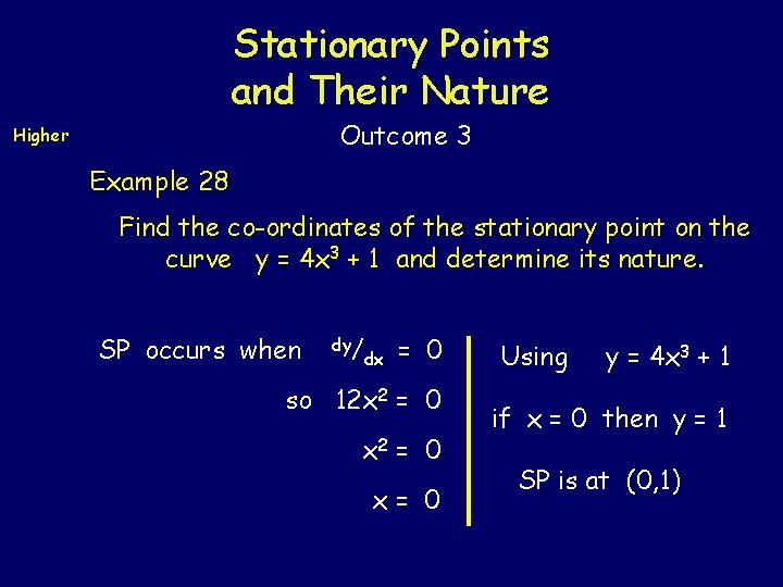 Stationary Points and Their Nature Outcome 3 Higher Example 28 Find the co-ordinates of