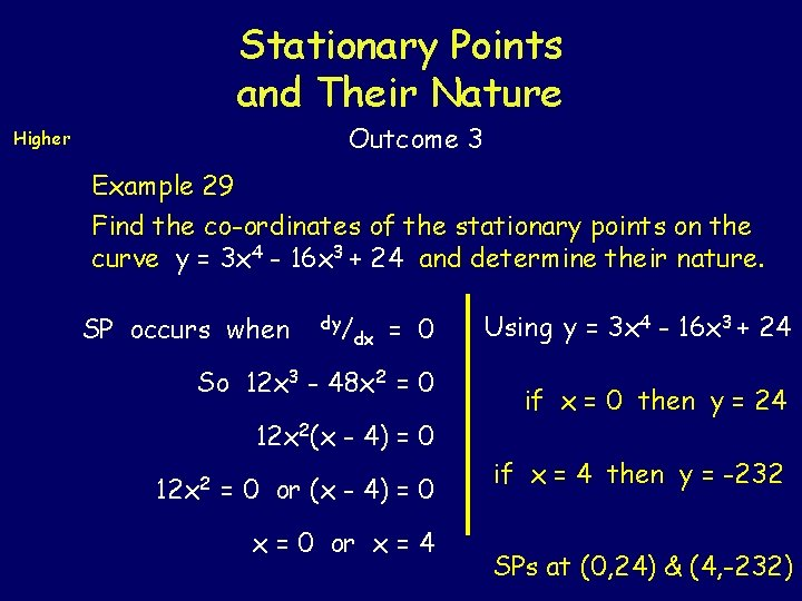 Stationary Points and Their Nature Outcome 3 Higher Example 29 Find the co-ordinates of