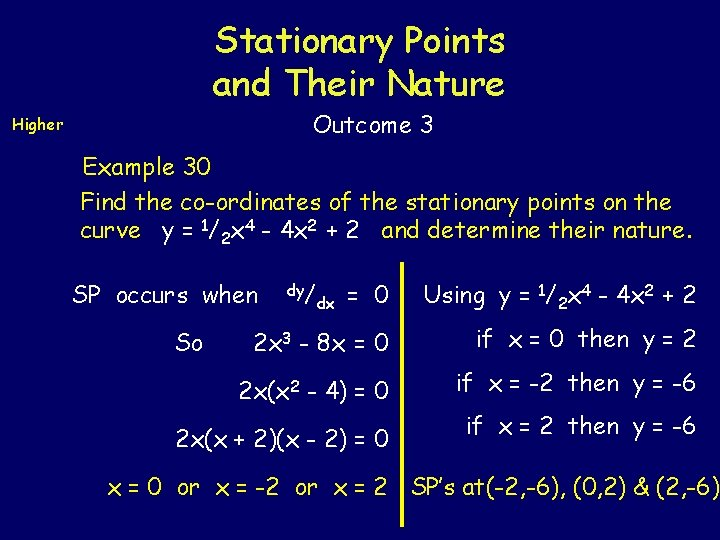 Stationary Points and Their Nature Outcome 3 Higher Example 30 Find the co-ordinates of
