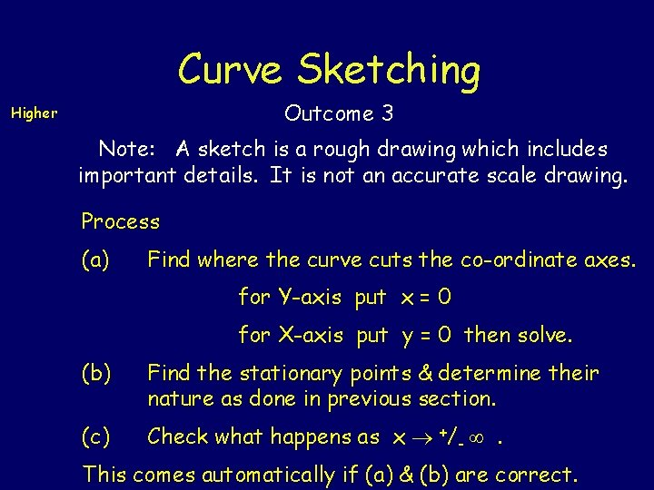 Curve Sketching Outcome 3 Higher Note: A sketch is a rough drawing which includes