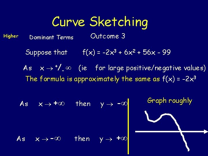 Curve Sketching Higher Outcome 3 Dominant Terms Suppose that As x +/ - f(x)