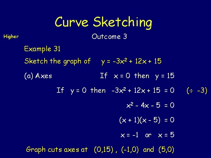 Curve Sketching Outcome 3 Higher Example 31 Sketch the graph of y = -3