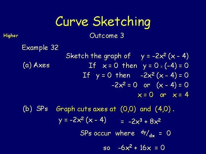 Curve Sketching Outcome 3 Higher Example 32 (a) Axes (b) SPs Sketch the graph