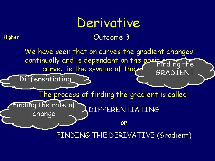 Derivative Higher Outcome 3 We have seen that on curves the gradient changes continually