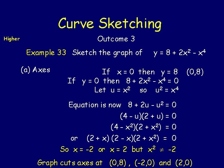 Curve Sketching Outcome 3 Higher Example 33 Sketch the graph of (a) Axes y