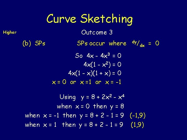 Curve Sketching Outcome 3 Higher (b) SPs occur where dy/ dx So 4 x