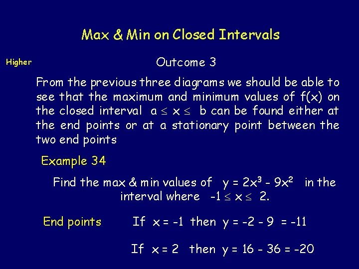 Max & Min on Closed Intervals Outcome 3 Higher From the previous three diagrams