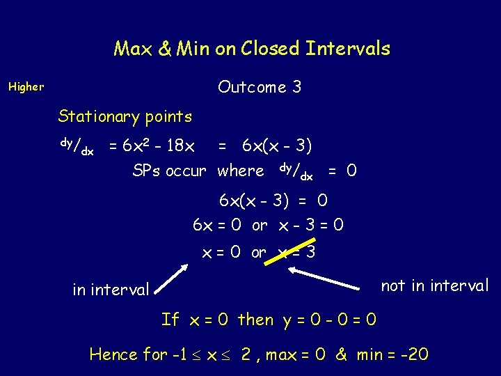 Max & Min on Closed Intervals Outcome 3 Higher Stationary points dy/ dx =