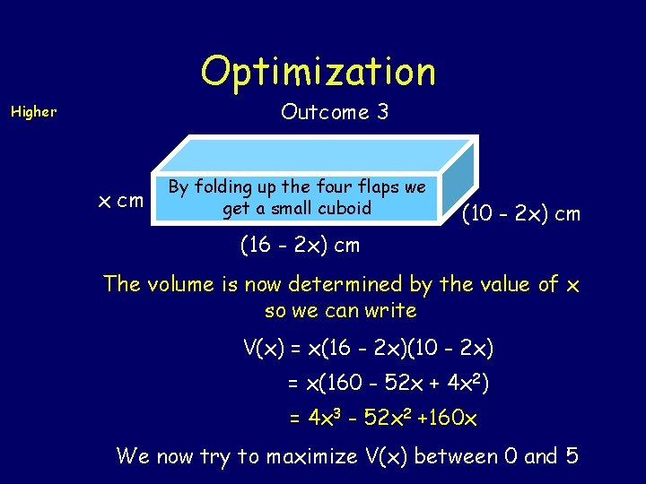 Optimization Outcome 3 Higher x cm By folding up the four flaps we get