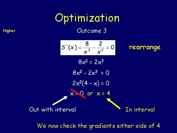 Optimization Outcome 3 Higher rearrange 8 x 2 = 2 x 3 8 x
