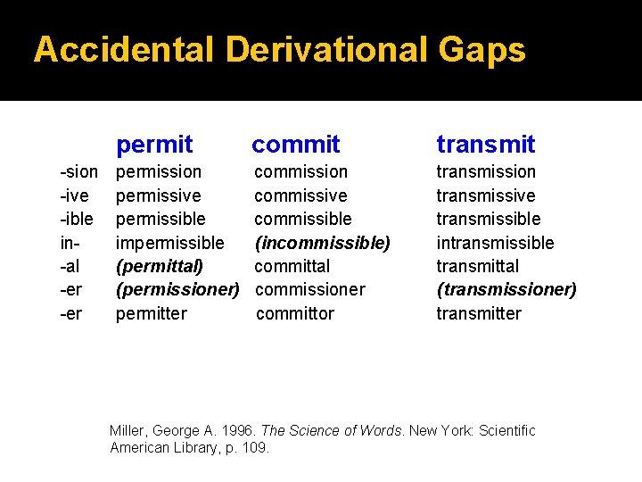 Accidental Derivational Gaps -sion -ive -ible in-al -er permit commit transmit permission permissive permissible