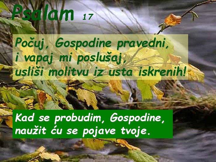 Psalam 17 Počuj, Gospodine pravedni, i vapaj mi poslušaj, usliši molitvu iz usta iskrenih!