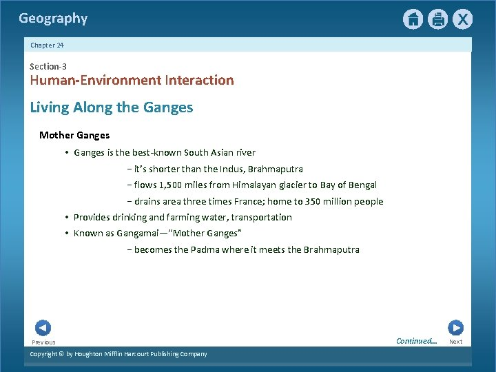 Geography Chapter 24 Section-3 Human-Environment Interaction Living Along the Ganges Mother Ganges • Ganges