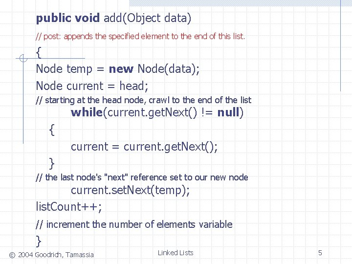 public void add(Object data) // post: appends the specified element to the end of