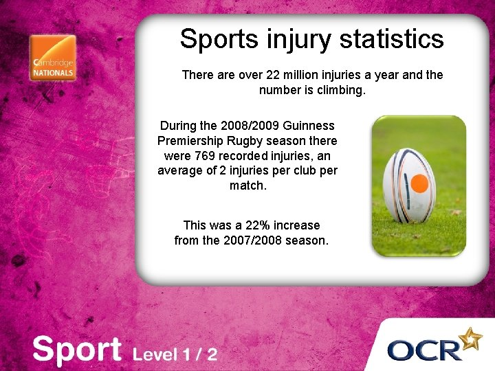 Sports injury statistics There are over 22 million injuries a year and the number