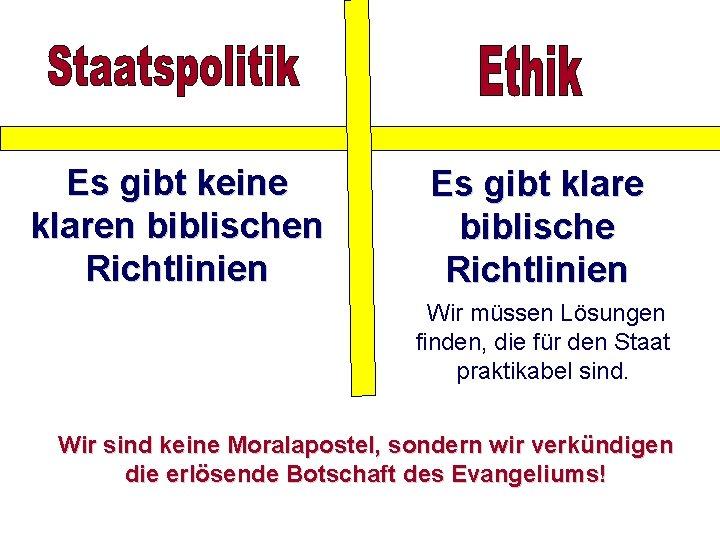 Es gibt keine klaren biblischen Richtlinien Es gibt klare biblische Richtlinien Wir müssen Lösungen