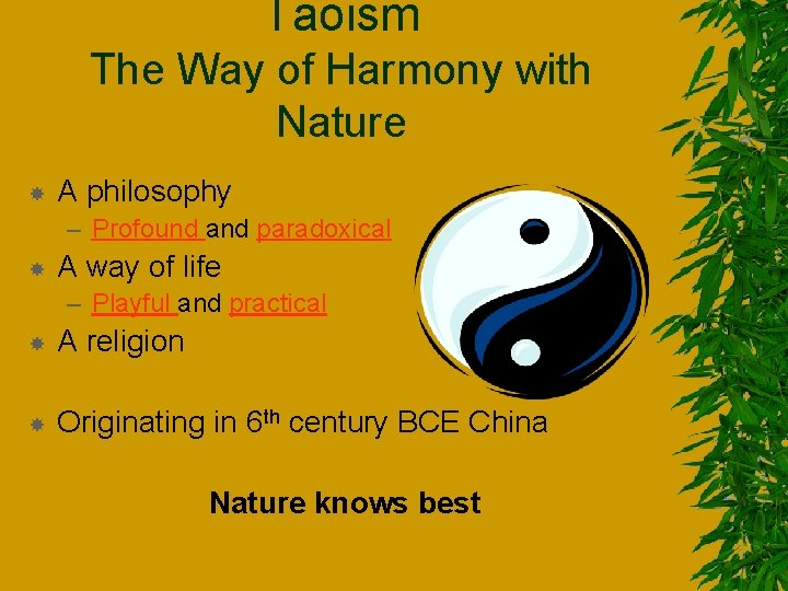 Taoism The Way of Harmony with Nature A philosophy – Profound and paradoxical A