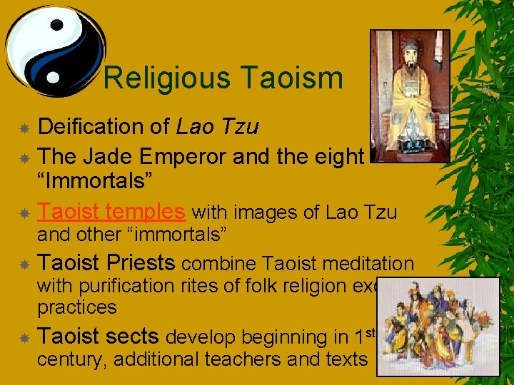 """Religious Taoism Deification of Lao Tzu The Jade Emperor and the eight """"Immortals"""" Taoist"""