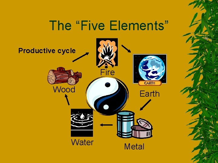 """The """"Five Elements"""" Productive cycle Fire Wood Water Earth Metal"""