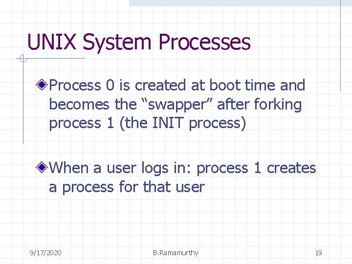 """UNIX System Processes Process 0 is created at boot time and becomes the """"swapper"""""""