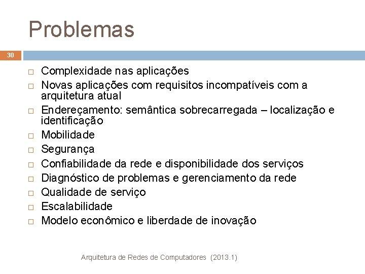 Problemas 30 Complexidade nas aplicações Novas aplicações com requisitos incompatíveis com a arquitetura atual