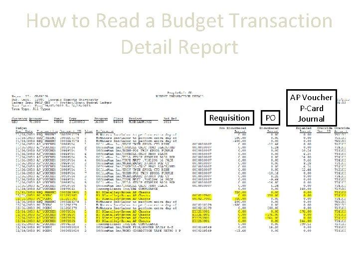 How to Read a Budget Transaction Detail Report Requisition PO AP Voucher P-Card Journal
