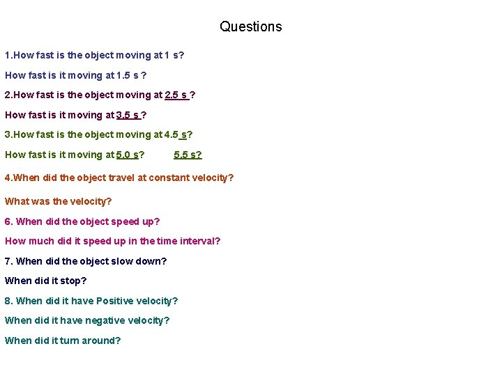 Questions 1. How fast is the object moving at 1 s? How fast is
