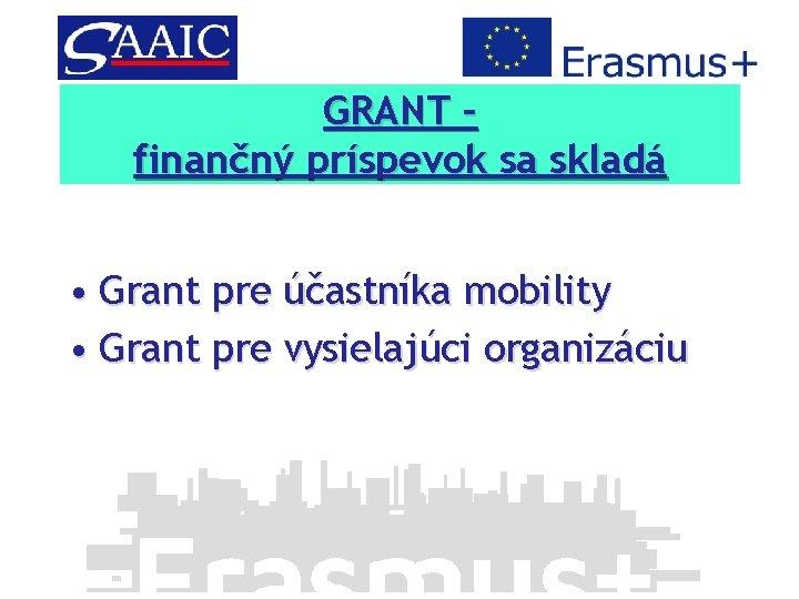 GRANT – Finančný príspevok sa skladá finančný príspevok sa skladá • Grant pre účastníka
