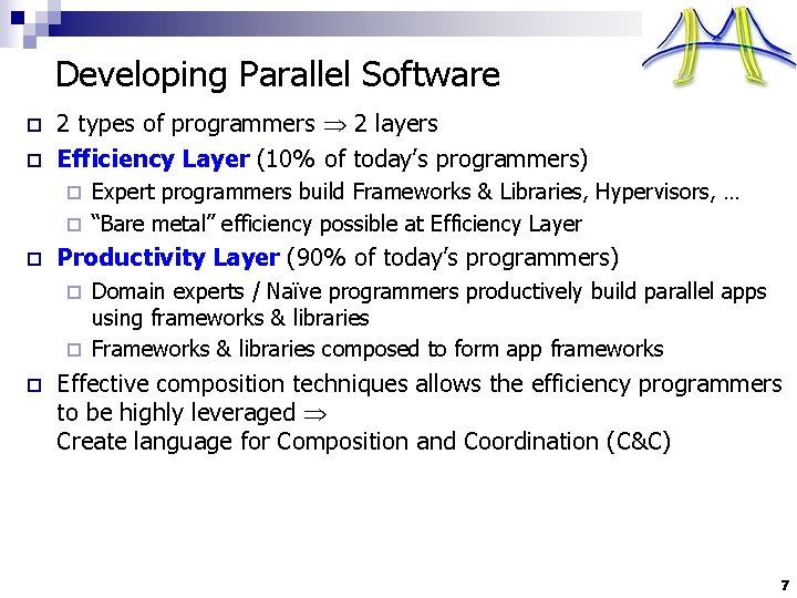 Developing Parallel Software o o 2 types of programmers 2 layers Efficiency Layer (10%