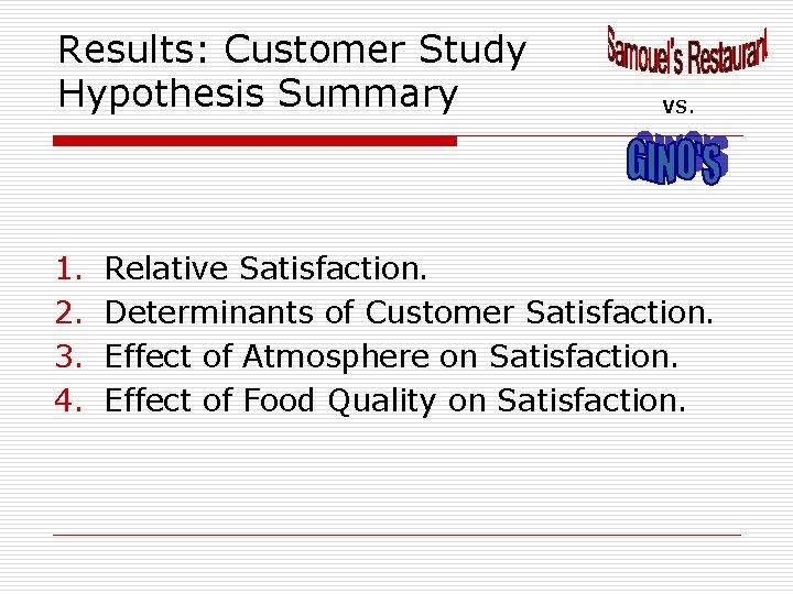 Results: Customer Study Hypothesis Summary 1. 2. 3. 4. VS. Relative Satisfaction. Determinants of