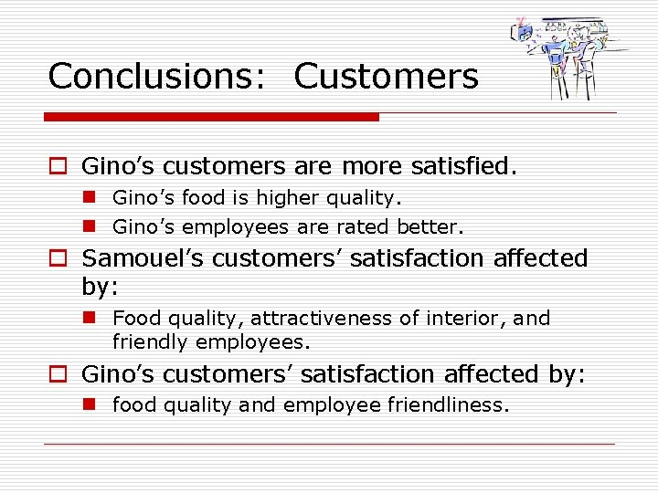 Conclusions: Customers o Gino's customers are more satisfied. n Gino's food is higher quality.