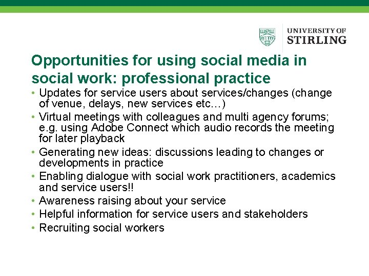 Opportunities for using social media in social work: professional practice • Updates for service