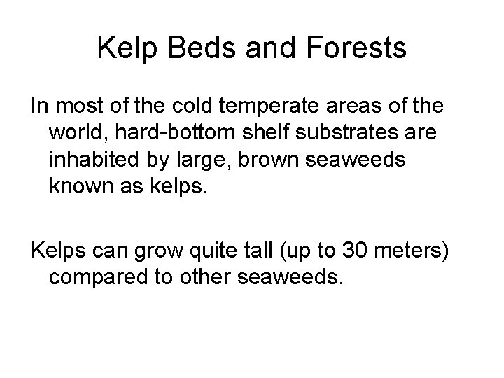 Kelp Beds and Forests In most of the cold temperate areas of the world,