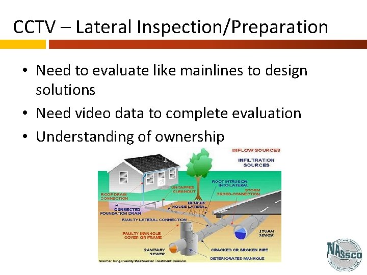 CCTV – Lateral Inspection/Preparation • Need to evaluate like mainlines to design solutions •