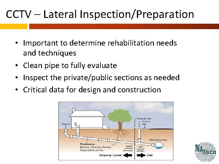 CCTV – Lateral Inspection/Preparation • Important to determine rehabilitation needs and techniques • Clean
