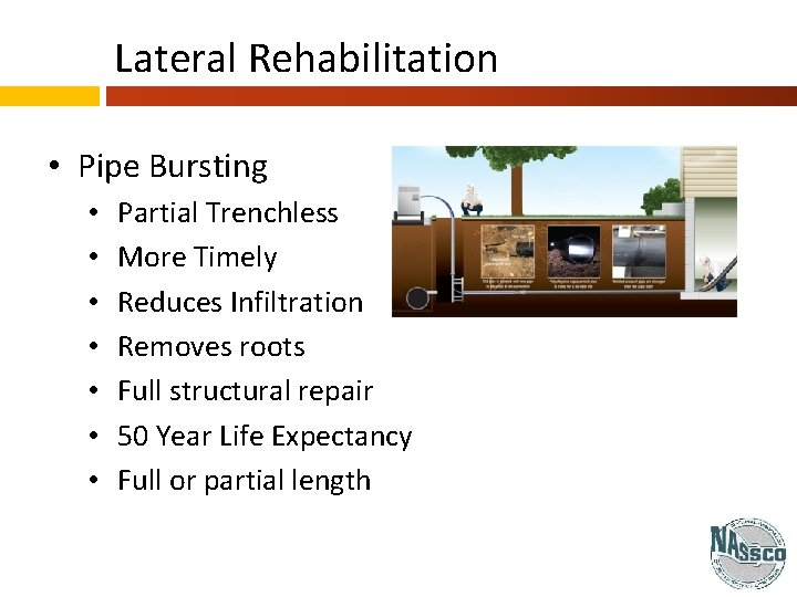 Lateral Rehabilitation • Pipe Bursting • • Partial Trenchless More Timely Reduces Infiltration Removes