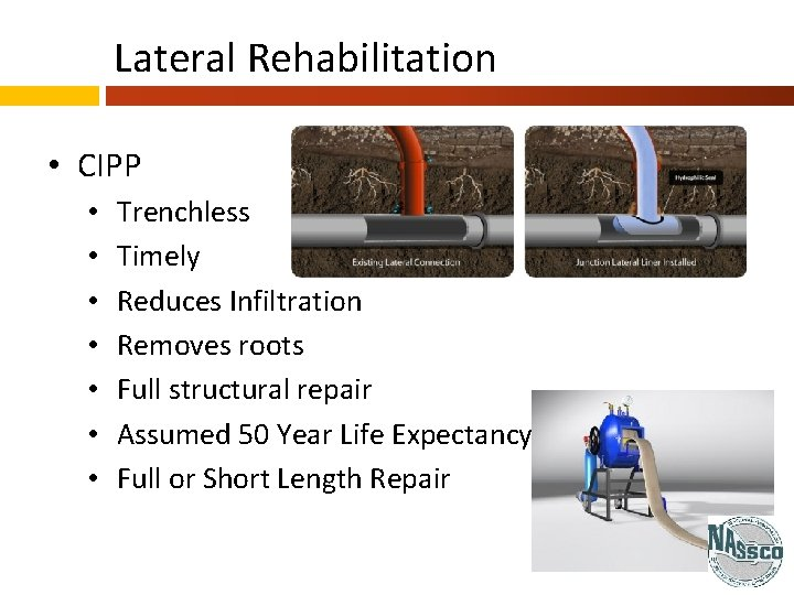 Lateral Rehabilitation • CIPP • • Trenchless Timely Reduces Infiltration Removes roots Full structural