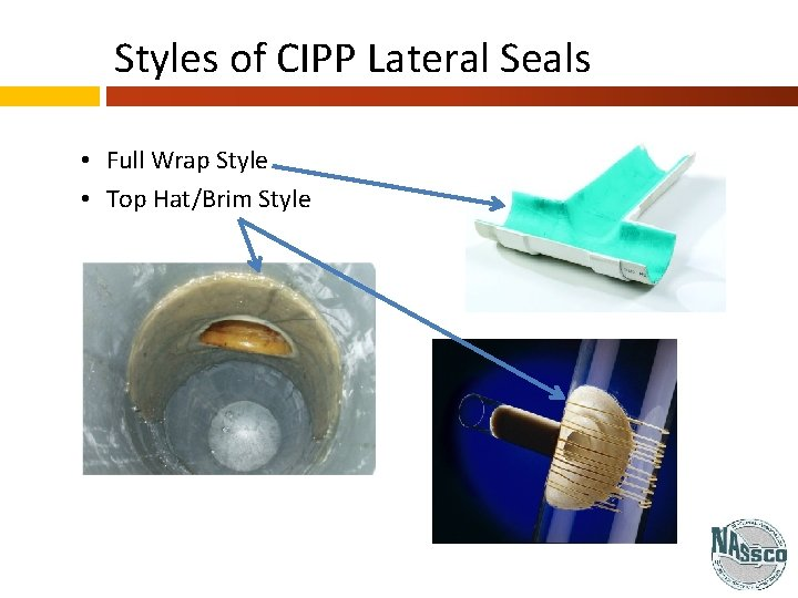 Styles of CIPP Lateral Seals • Full Wrap Style • Top Hat/Brim Style
