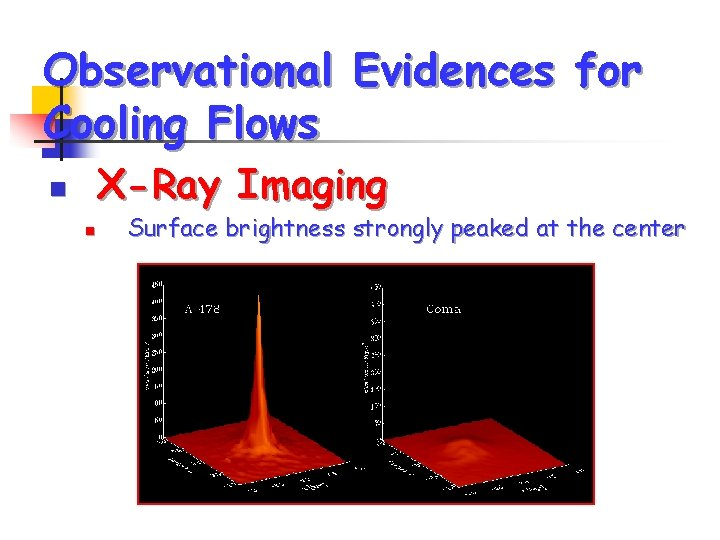 Observational Evidences for Cooling Flows X-Ray Imaging n n Surface brightness strongly peaked at