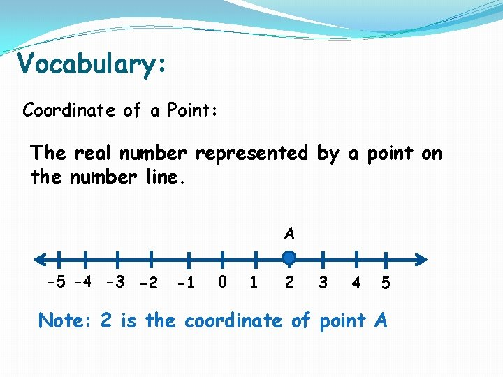 Vocabulary: Coordinate of a Point: The real number represented by a point on the