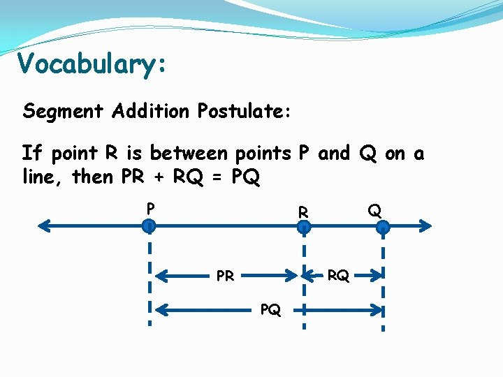 Vocabulary: Segment Addition Postulate: If point R is between points P and Q on