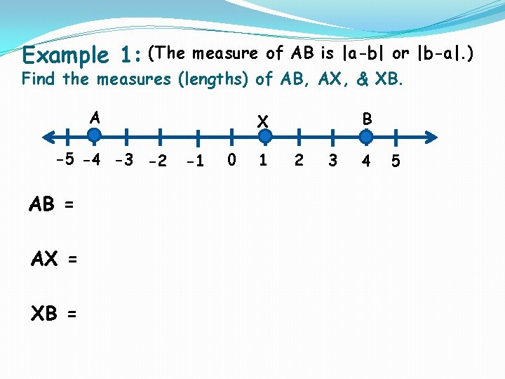 Example 1: (The measure of AB is |a-b| or |b-a|. ) Find the measures
