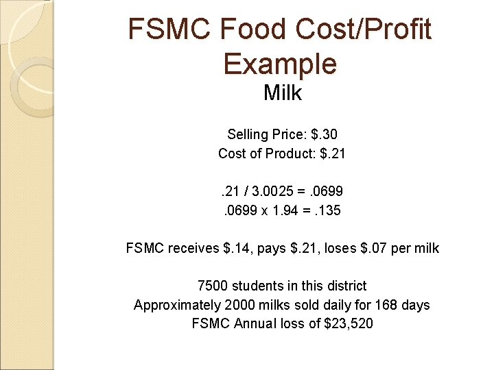 FSMC Food Cost/Profit Example Milk Selling Price: $. 30 Cost of Product: $. 21