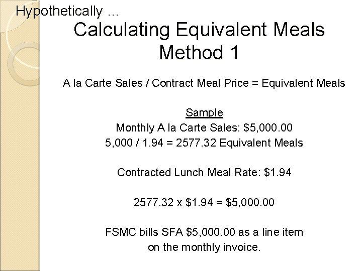 Hypothetically … Calculating Equivalent Meals Method 1 A la Carte Sales / Contract Meal