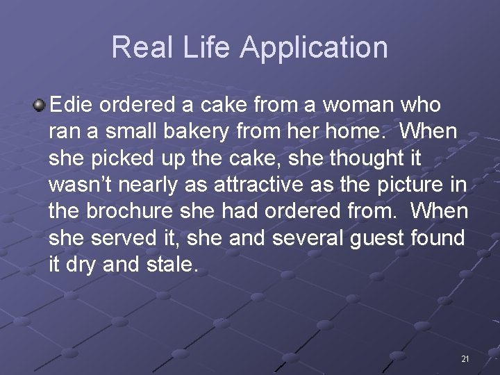 Real Life Application Edie ordered a cake from a woman who ran a small